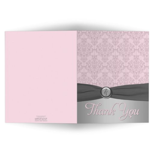 Best pink and gray damask bat mitzvah thank you card with ballet shoes