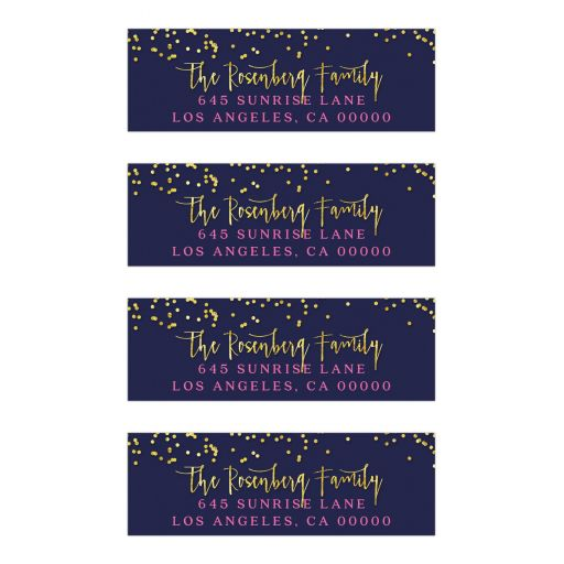 Navy & Pink with Gold Confetti Bat Mitzvah Return Address Labels
