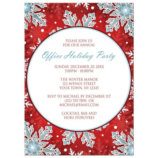Holiday Party Invitations - Modern Red White Blue Snowflake