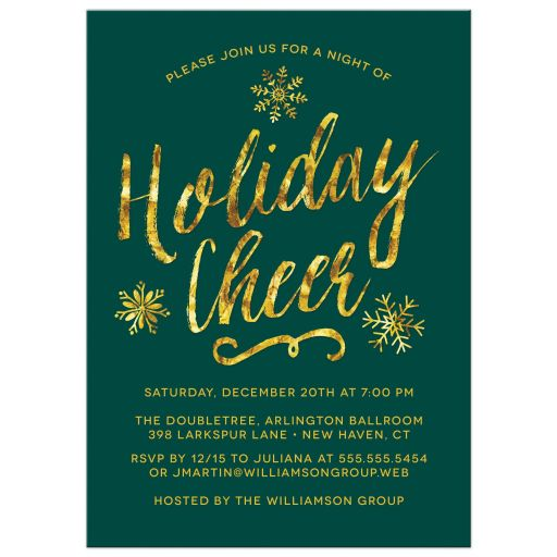 Golden Holiday Cheer Corporate Holiday Party Invitations