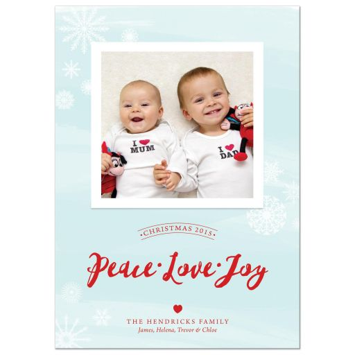 Peace Love Joy Watercolor Wash Photo Christmas Cards