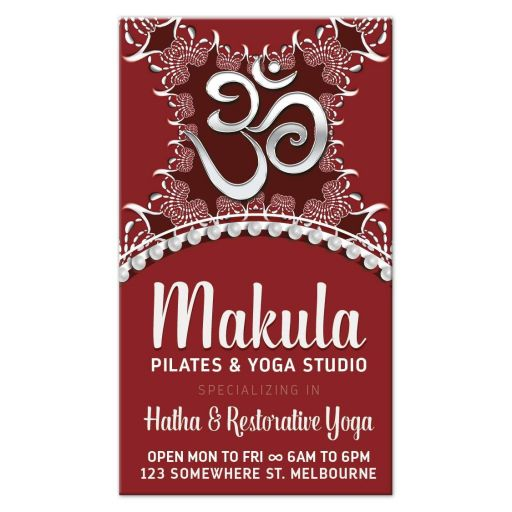 OM Yoga Business Card | Red White Batik