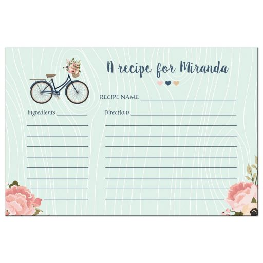 Floral bike bridal shower recipe card