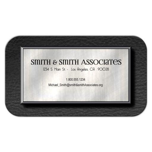Elegant Platinum And Leather Professional Business Cards