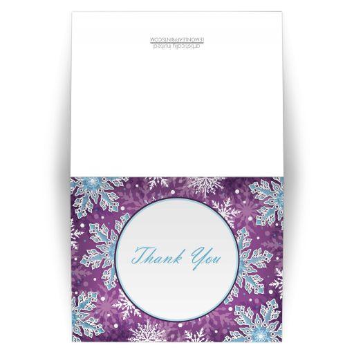 Thank You Cards - Modern Purple Blue Snowflake