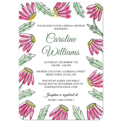 Garden bridal shower invite with pretty pink daisy flower border