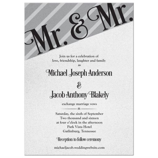 Silver and black Mr and Mr gay wedding invitation front