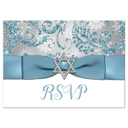 Winter wonderland bat mitzvah rsvp card in ice blue and white