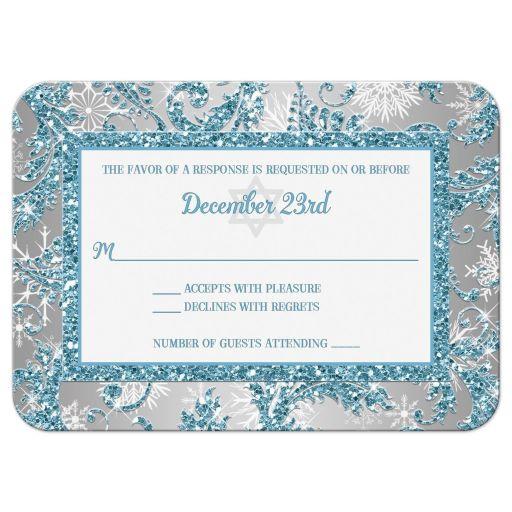 Winter wonderland bat mitzvah rsvp card in ice blue and white