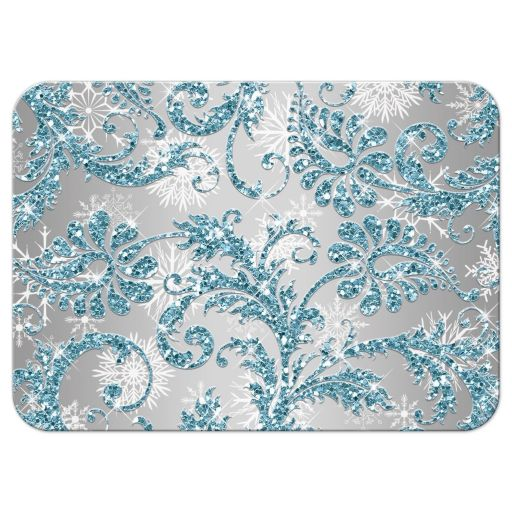 Ice blue, silver, white snowflakes Bat Mitzvah response card with ribbon, bow and Jewish Star