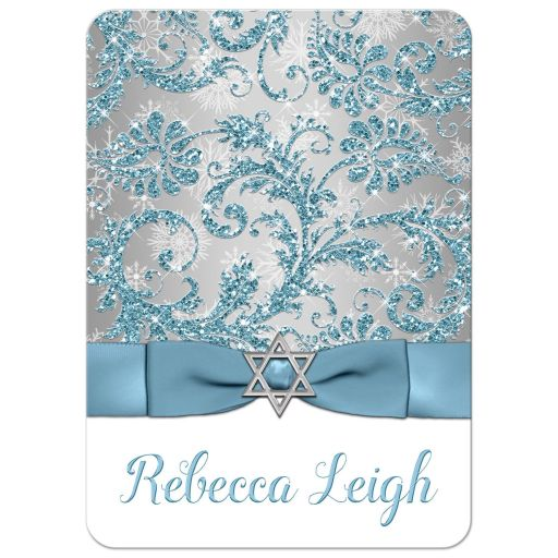 Winter wonderland bat mitzvah invitation in ice blue and white