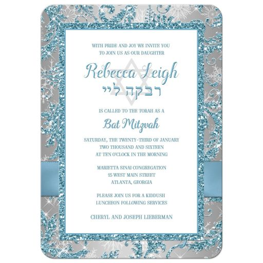 Ice blue, silver, white snowflakes Bat Mitzvah invitation with ribbon, bow and Jewish Star