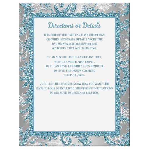 Great affordable ice blue and silver bat mitzvah enclosure card insert with white snowflakes