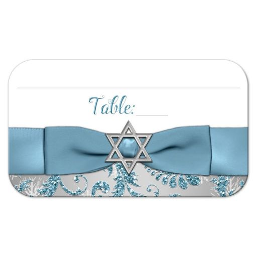 Best bat Mitzvah place cards in ice blue and silver