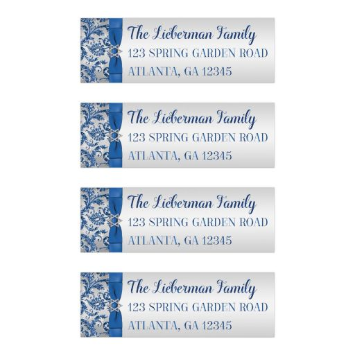 Winter wonderland bat mitzvah return address labels in royal blue and white with ribbon and jewish star of David