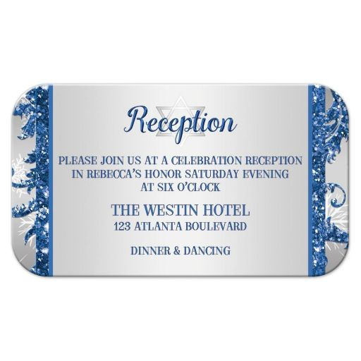 Best bat Mitzvah place card in royal blue and silver