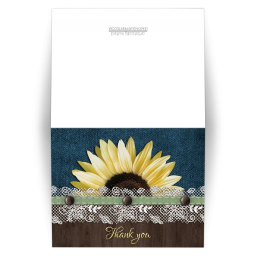 Thank You Cards - Sunflower Denim Wood Lace