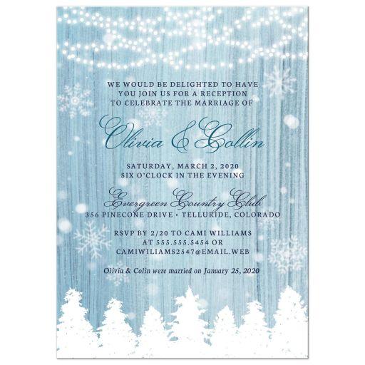 Winter Wonderland Post-Wedding Reception Invitations