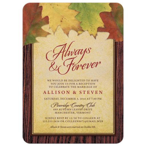 Rustic Autumn Leaves Post Wedding Reception Only Invitations front
