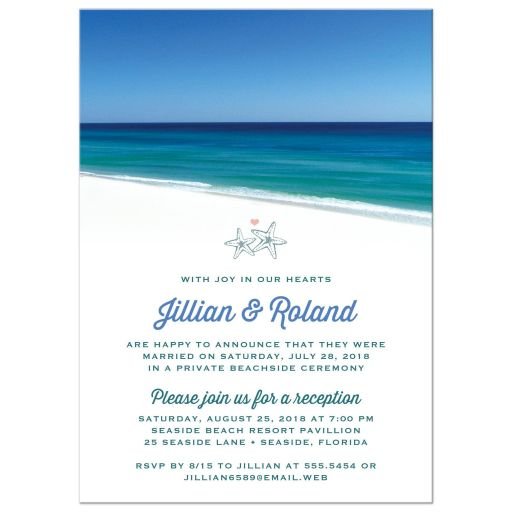Beautiful Beach Scene Post Wedding Reception Only Invitations