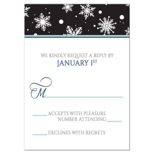RSVP Reply Cards - Midnight Snowflake Winter