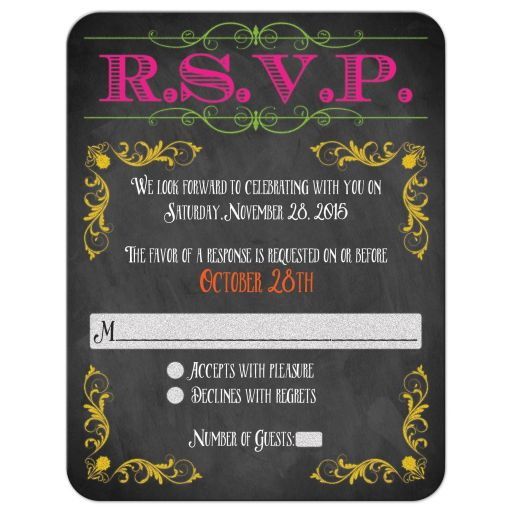 Chalkboard Bat Mitzvah rsvp card with neon colors and vintage scrolls and flourishes