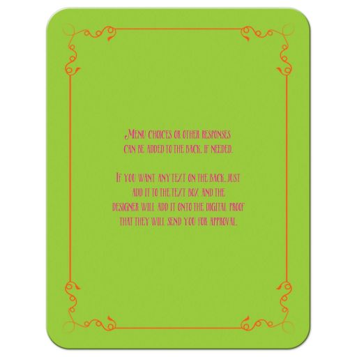 Neon chalkboard bat mitzvah response card with vintage typography, scrolls and flourishes