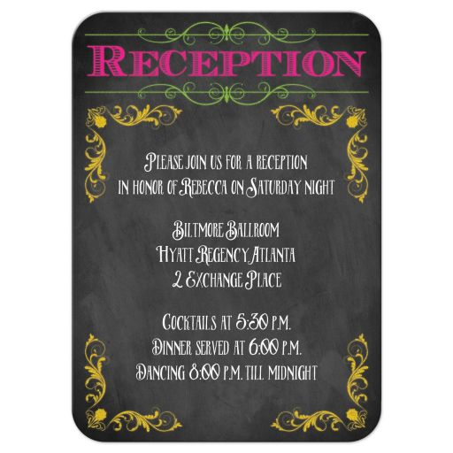 Chalkboard Bat Mitzvah reception enclosure card with neon colors and vintage scrolls and flourishes