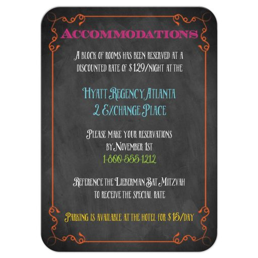 Neon chalkboard bat mitzvah accommodations enclosure card with vintage typography, scrolls and flourishes