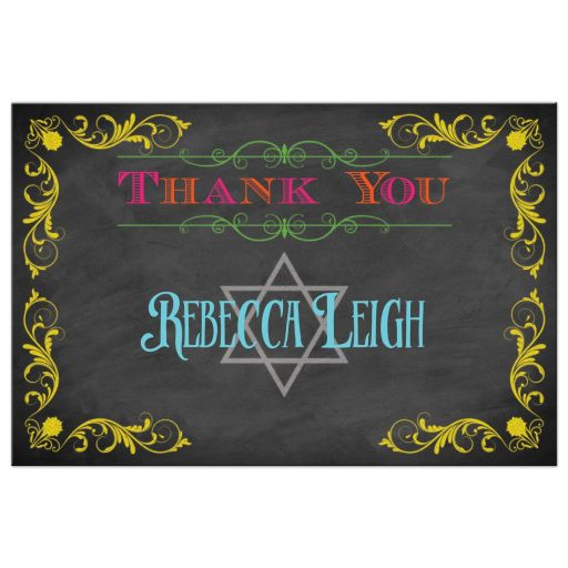 Chalkboard Bat Mitzvah thank you card with neon colors and vintage scrolls and flourishes
