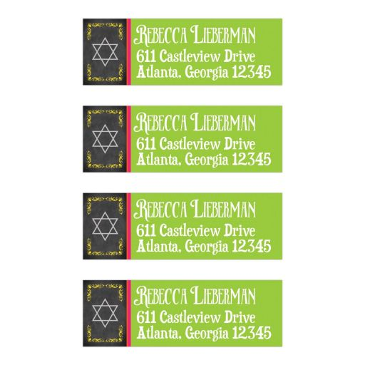 Chalkboard Bat Mitzvah return address labels with neon green and yellow and vintage flourishes and Jewish Star of David