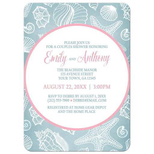 Couples Shower Invitations - Blue Seashell Pink Beach