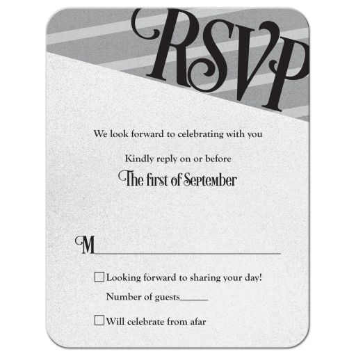 Silver and black gay wedding rsvp reply card front