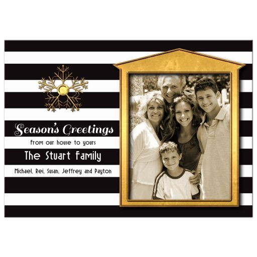 Elegant Gold Accent Photo Christmas Card