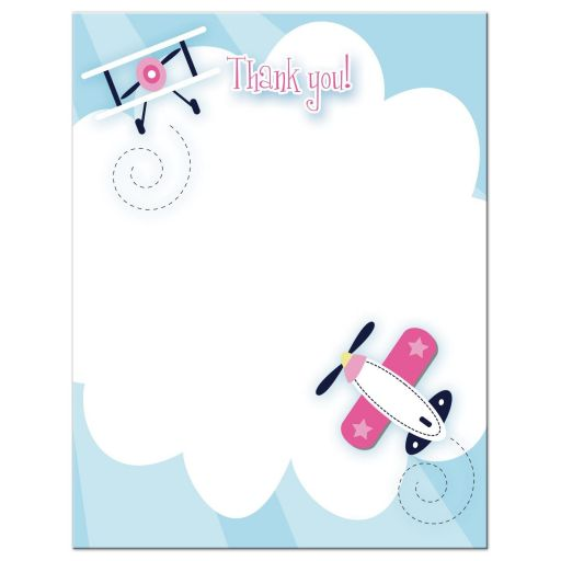 Little Aviator Airplane Pink Flat Thank you note card