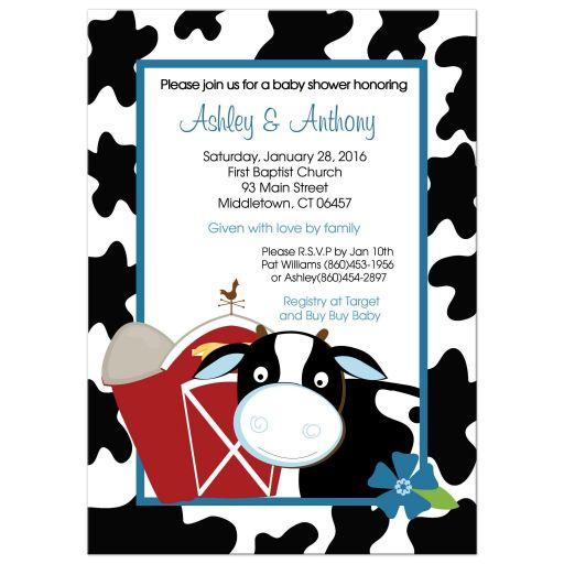 Blue Cow Farm Boy Baby shower Invitation
