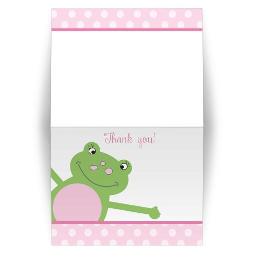 Pink Leap Frog Folded Thank you note