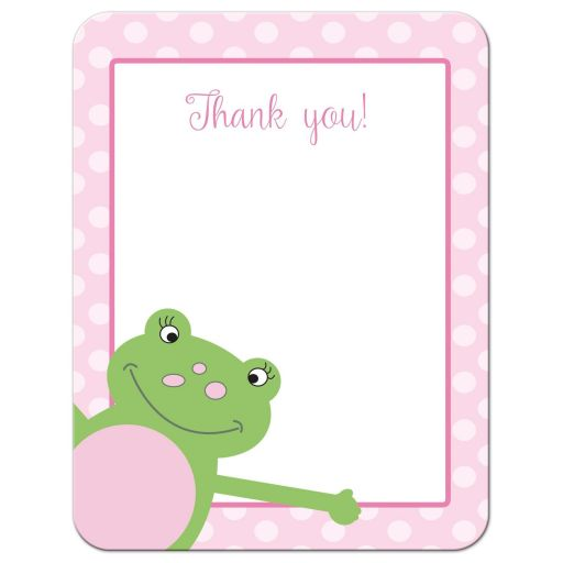 Pink Leap Frog Flat Thank you card