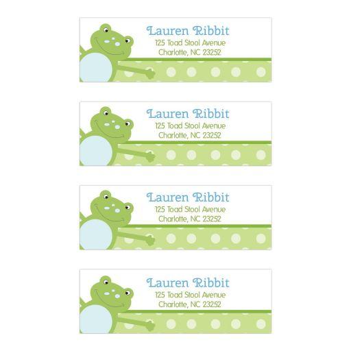 Green Leap Frog Return Address Mailing Labels