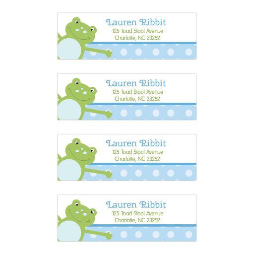 Blue Leap Frog Return Address mailing label stickers