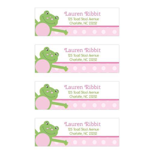 Pink Leap Frog Return Address Mailing Label Stickers