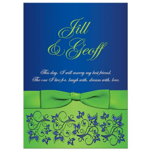 Great royal blue and lime green wedding invitation with flowers, scrolls and ribbon