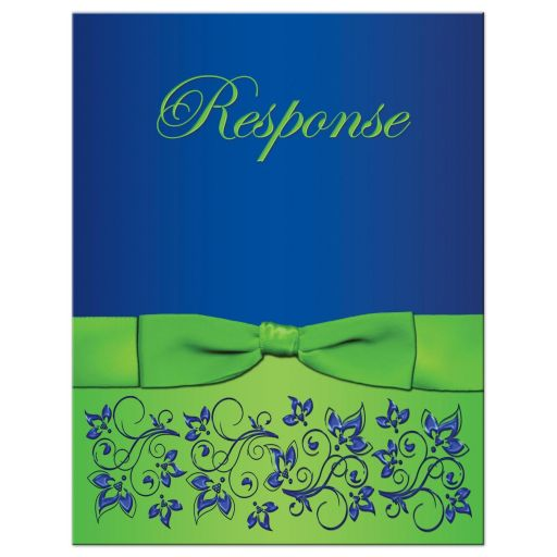 Great royal blue and lime green wedding response card with flowers, scrolls and ribbon