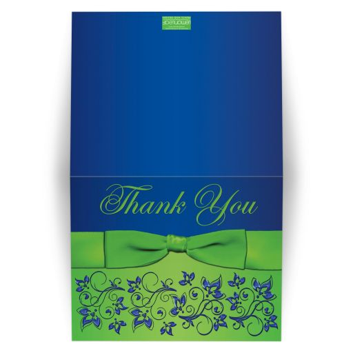 Great royal blue and lime green wedding thank you card with flowers, scrolls and ribbon