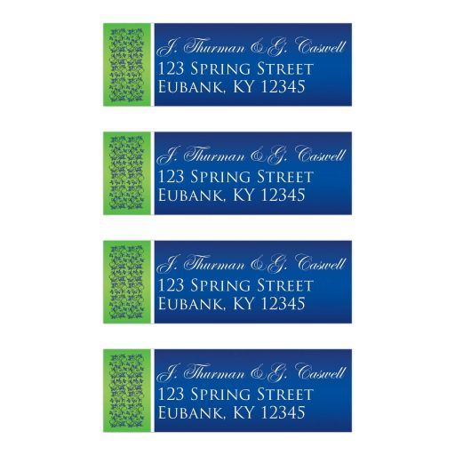 Great royal blue, white and lime green wedding return address labels with flowers