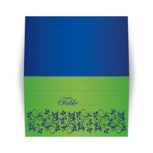 Great royal blue and lime green wedding place cards with flowers