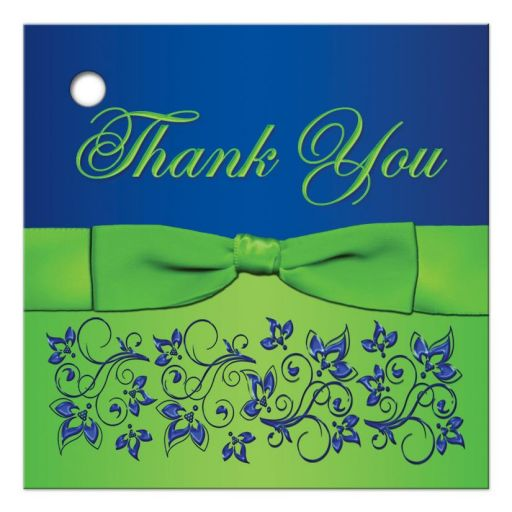 Great royal blue and lime green wedding favor thank you tag with flowers and ribbon
