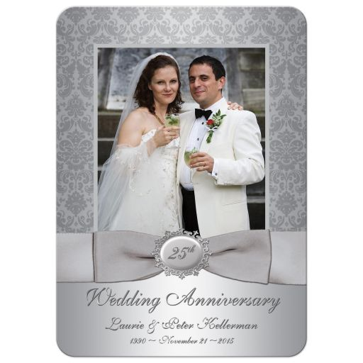 25th wedding anniversary invitation in silver damask with photo template