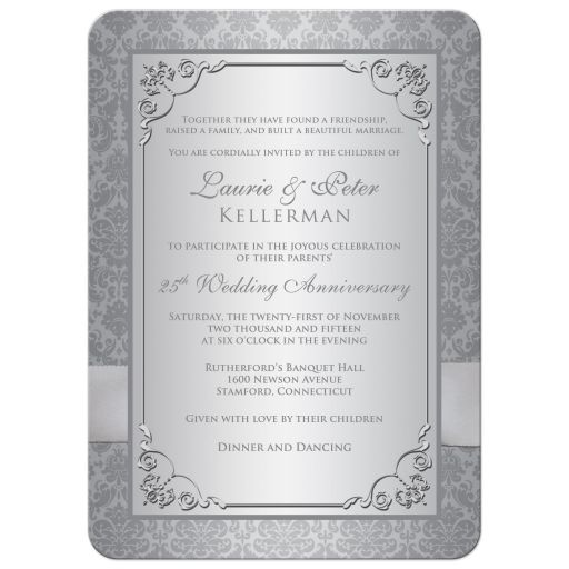 Silver damask wedding anniversary invite with photo template and ribbon
