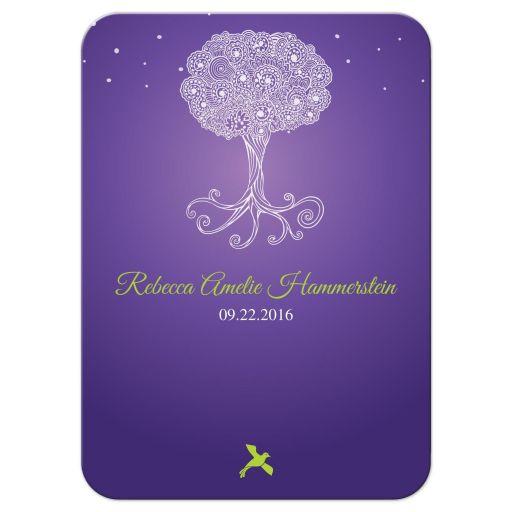 Bat Mitzvah Insert Card - Purple Ornate Tree of Life